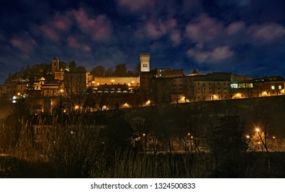 Bertinoro, Forli-Cesena, Emilia-Romagna, Italy: night landscape of the ancient hill town known for its excellent wines