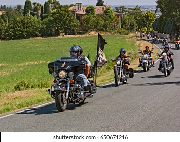 "BERTINORO, ITALY - JULY 14: group of bikers riding American motorbikes Harley Davidson in motorcycle rally "" Run del Passatore"" on July 14, 2012 in Bertinoro (FC) Italy"