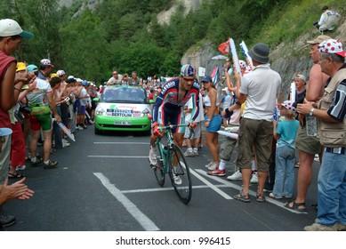 Bertolini on the Alpe D'Huez Time Trial Tour de France 2004