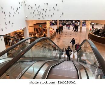 Bertrange, Luxembourg - December 22, 2018: escalator in a mall