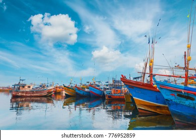 Beruwala, Sri Lanka - 10 February, 2017: Fishing boats stand in Beruwala Harbour, fish market in Bentota or Aluthgama area