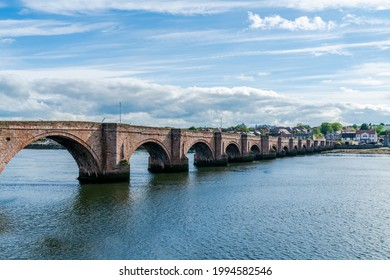 Berwick Bridge, also known as the Old Bridge, across River Tweed in Berwick-upon-Tweed, Northumberland, England