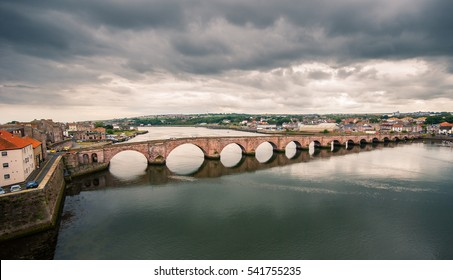 Berwick Bridge also known as 'Old Bridge' spans the River Tweed in Northumberland.