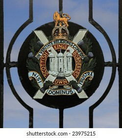 BERWICK UPON TWEED, ENGLAND, JUNE 2008: Badge of the Kings Own Scottish Borders (KOSB) Regiment, a Scottish Regiment in the British Army whose Regimental Museum is in Berwick upon Tweed, England.