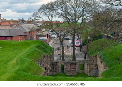Berwick-upon-Tweed, England - April 2018: The remaining historic Elizabethan Wall at Megs Mount near Castle Gate Car Park in Berwick-upon-Tweed, Northumberland, England, UK