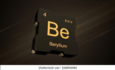 Beryllium element number 4 from the periodic table on futuristic black icon and nice lens flare on noisy dark background - 3D render
