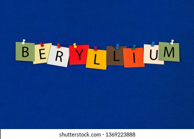 Beryllium – one of a complete periodic table series of element names - educational sign or design for teaching chemistry.