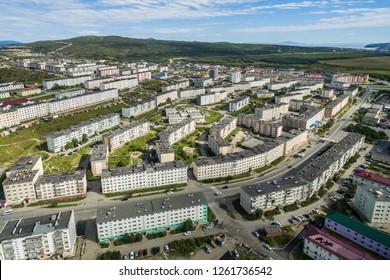 Berzin Street. city of Magadan. Russia, August, 2016