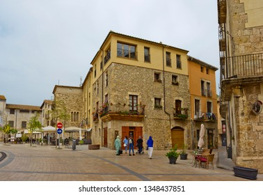 Besalu, Spain - April 23, 2018: Cathedral Square with historical buildings