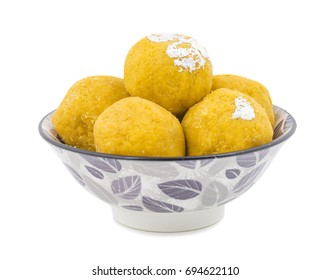 Besan Laddu Indian Traditional Sweet Food Also Know as Laddoos, laddoo, ladoo, laddo Are Ball-Shaped Sweets Popular in The Indian Festivals. isolated on White Background