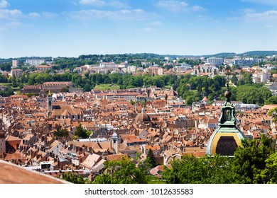Besancon cityscape with St. Jean Cathedral dome
