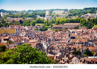 Besancon cityscape with tiled roofs of old houses