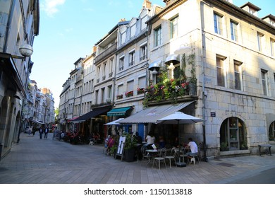 Besancon, France - July, 11, 2018: street life in the town