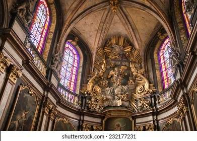BESANCON, FRANCE - NOVEMBER 10, 2014: The interior of the cathedral of Saint Jean in Besancon.