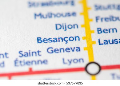 Besancon, France on a geographical map.