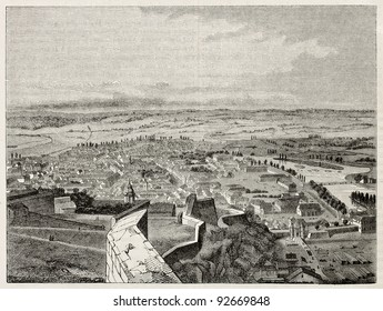 Besancon old view from the Citadel. Created by Armstrong, published on Magasin Pittoresque, Paris, 1845