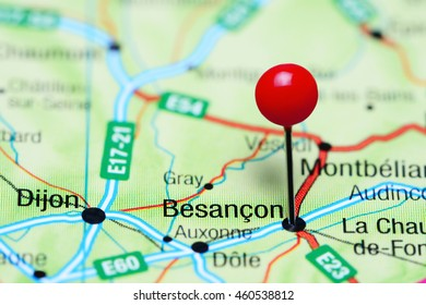 Besancon pinned on a map of France