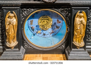 BESANCONS, FRANCE/EUROPE - SEPTEMBER 13: Astronomical Clock in Cathedral of St Jean in Besancon France on September 13, 2015