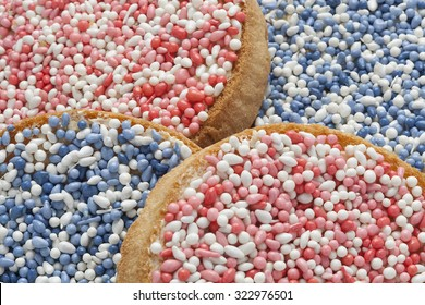 'Beschuit met muisjes, a traditional treat to celebrate the birth of a child in The Netherlands. Pink  sprinkles for a girl, blue for a boy