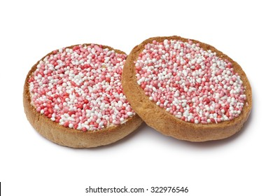 'Beschuit met muisjes, a traditional treat to celebrate the birth of a child in The Netherlands. Pink for a girl
