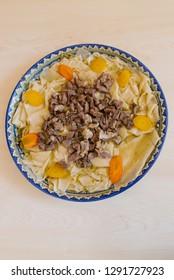 Beshbarmak on the Uzbek plate