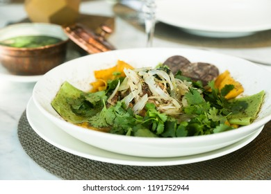 Beshbarmak soup with noodles and meat