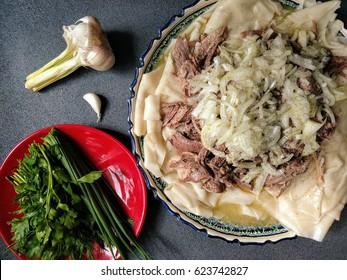 Beshbarmak. Traditional Kazakh and Central Asian food