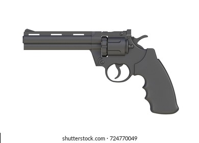 Beside view of black revolver 357 magnum isolated on white background, 3D rendering