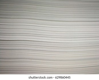 Beside View Stack of White Papers, Parallel Lines Texture