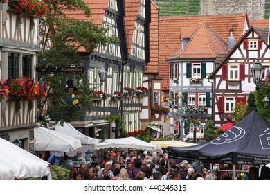BESIGHEIM, GERMANY - 19 JUNE: Once a year in the Old Town Besigheimer a flea-market.  19 JUNE 2016