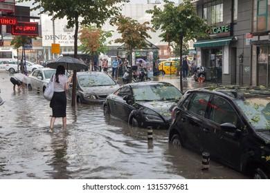 Besiktas, İstanbul/Turkey - 07/27/2017:Flood in a street in Istanbul.