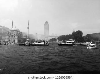 Besiktas football team fans. Celebration in Istanbul Bosphorus. The championship celebration. Soccer fans on the boat. Bosphorus. Istanbul. Turkey. June 2017.