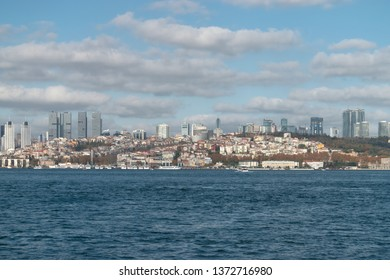 Besiktas, ISTANBUL - DECEMBER 11, 2016 : View of the European side from the Anatolian side. General view of Besiktas district from Marmara Sea. TURKEY