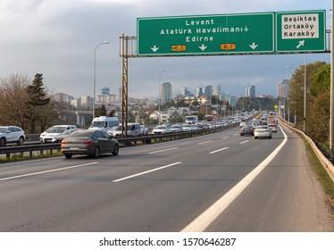 Besiktas, Istanbul - November 24, 2019 : Istanbul Bosphorus Bridge exit and road to Europe. TURKEY