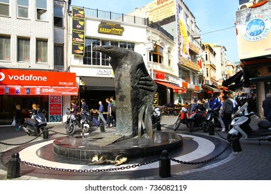 BESIKTAS, ISTANBUL, TURKEY - 16 October 2017. The Eagle statue in Besiktas district. It is the symbol of Besiktas JK and the meeting point for the fans when Besiktas JK has a match.