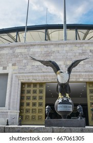 Besiktas is the Turkish football team. Eagle is the symbol of the Besiktas. View a eagle statue in front of football stadium