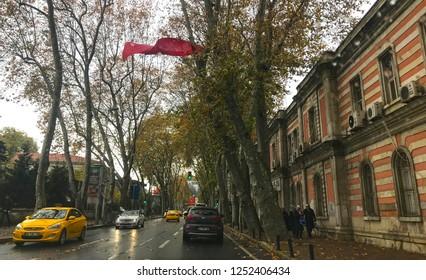 Besiktas-Istanbul- December 6, 2018. Historical Ciragan street view.