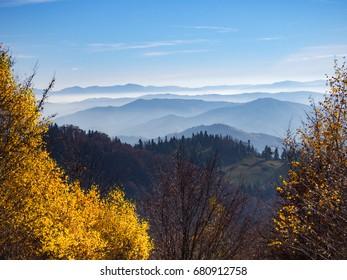Beskids Mountains in Autumn from Jaworzyna Range nearby Piwniczna-Zdroj town, Poland. View to the south.
