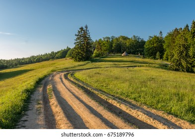 Beskidy mountains, Poland, green spring meadow with dirt road