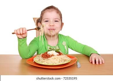 besmear little girl eating spaghetti