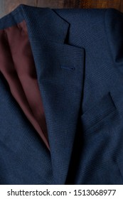 Bespoke navy blue jacket, details. Close-up view. Top view