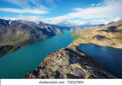 The Besseggen Ridge in Jotunheimen Norway