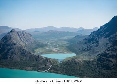 Besseggen ridge over blue Gjende lake in Jotunheimen National Park, Norway