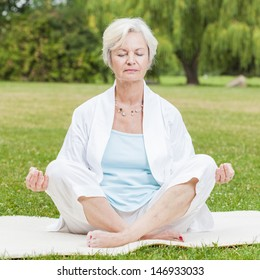 best ager women practicing yoga and tai chi outdoors