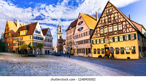 "Best of Bavaria (Germany) - old town Dinkelsbuhl with traditionanal colorful houses. Famous route ""Romantic road"" in Bavaria"