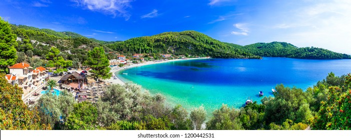 Best beaches of Skopelos - beautiful Panormos bay. Sporades island of Greece