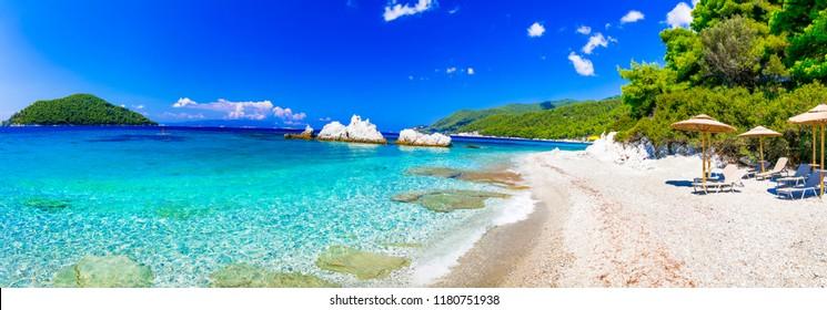 Best beaches of Skopelos island - relaxing Milia beach. Sporades, Greece