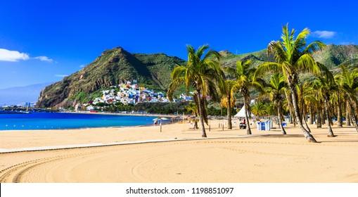 Best beaches of Tenerife - Las Teresitas near Santa Cruz. Canary islands of Spain