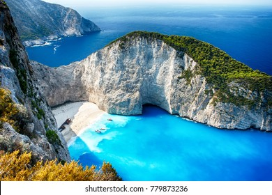 The best beaches in the world and Greece. Beach Shipwreck. Beach of Navagio, Zakynthos, Greece.