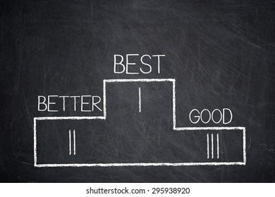 BEST, BETTER, GOOD words on a winners podium on a blackboard